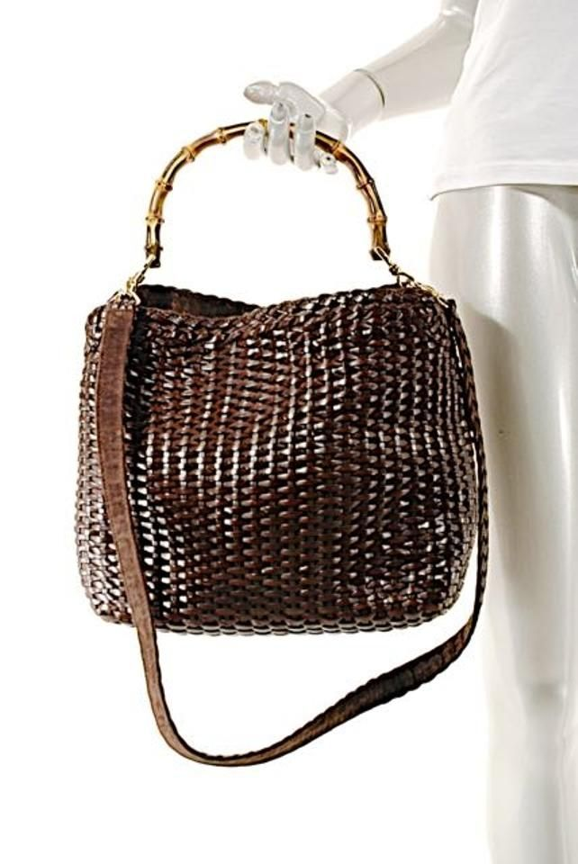 342ecaaec Bamboo Handle/Removable Strap Deep Brown Woven Leather Tote | Gucci ...