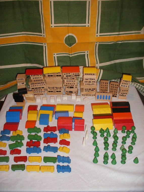 Vintage Playskool Village With Mat And Bag Tm314 121 Wooden