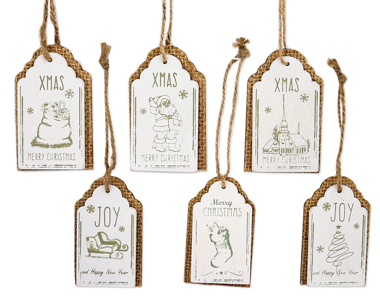 *Werbung* 6x Anhänger Weihnachten Mit Text Motiv Zum Hängen, Holz Jute Weiß  Beige