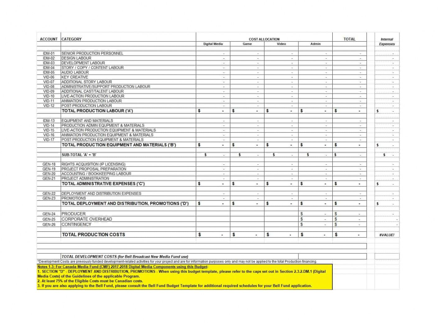 33 free film budget templates (excel word) template lab