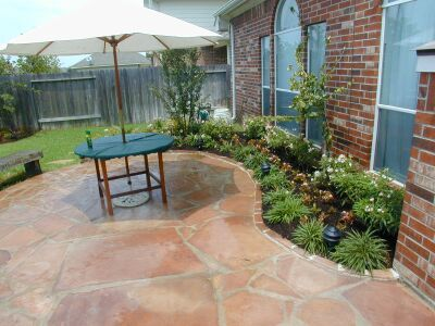 flagstone patio red stone landscaping