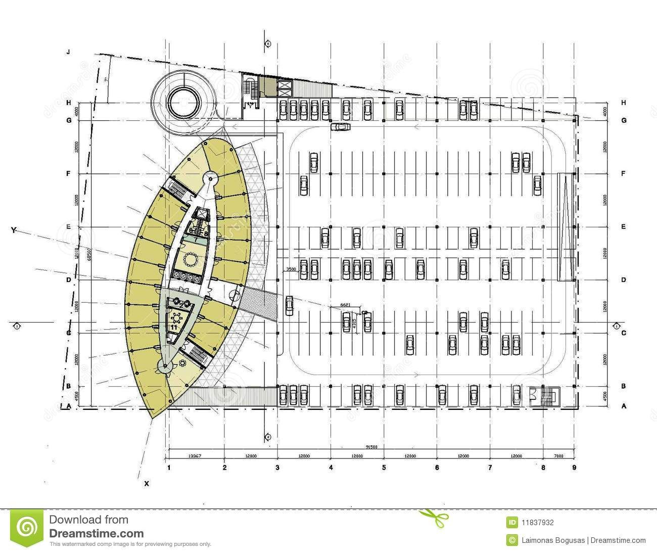 Car parking plan with dimensions plan with the car parking for Architecture design blueprint