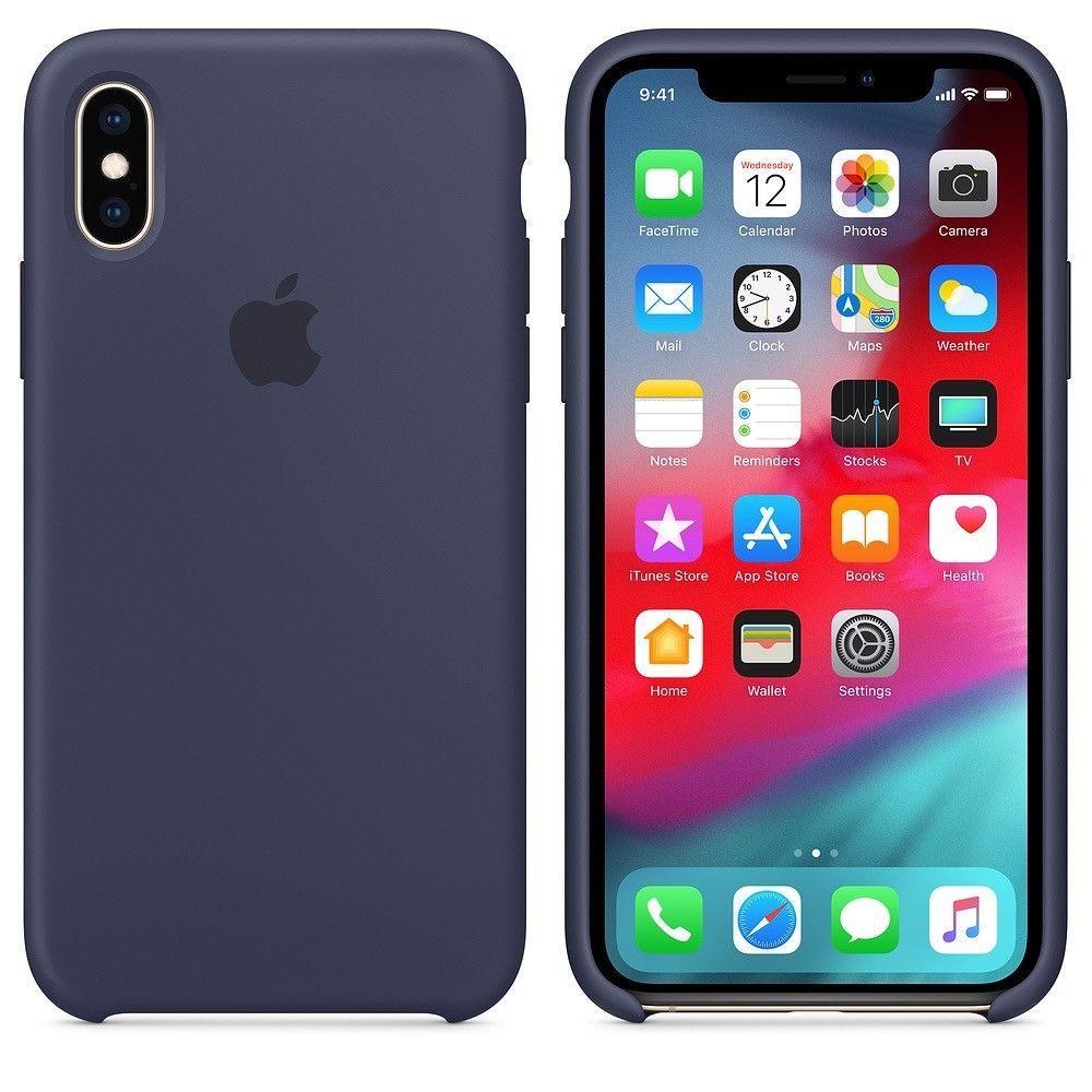 Original Apple Iphone Xs Iphone X Silikon Case Mitternachts Blau Mrw92zm A Fundas Para Iphone 5s Iphone Fundas Para Ipad