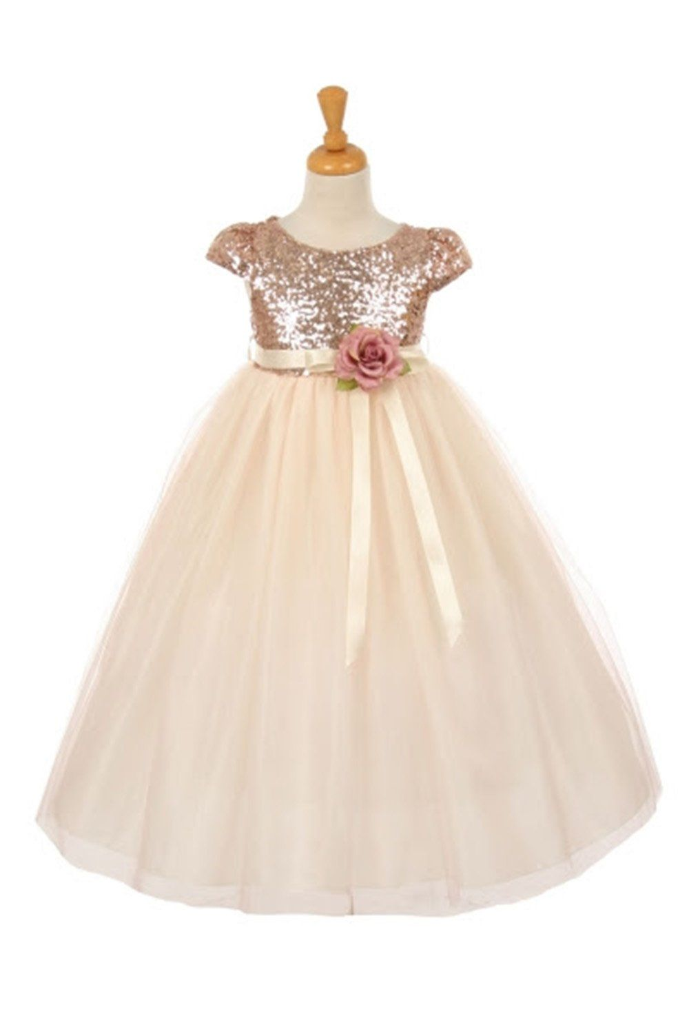 46c069a92ee Gold Short Sleeve Sequin Bodice   Tulle Skirt Flower Girl Dress ...