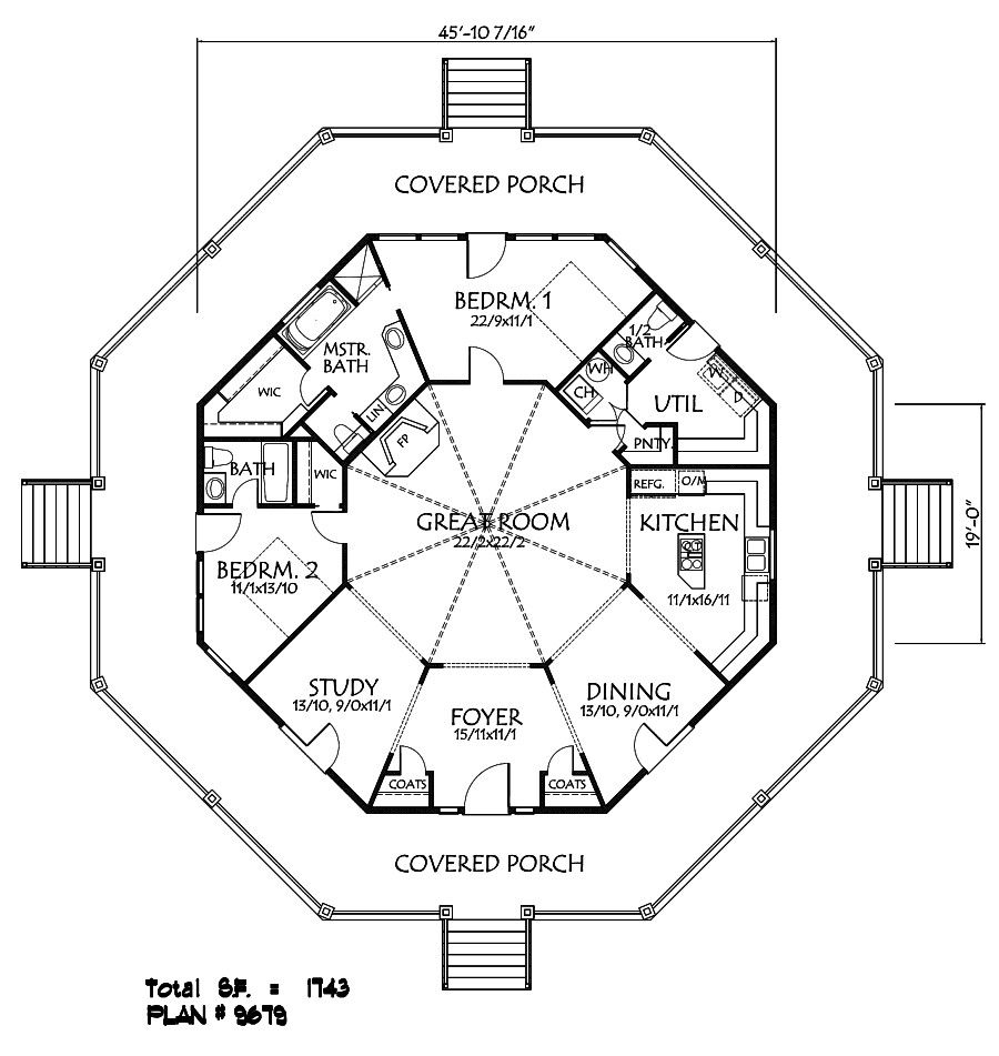 This Is Kind Of Close Open Up The Walls For The Dining Foyer Kitchen And Study Maybe Keep The Study But Add Hexagon House Octagon House Round House Plans