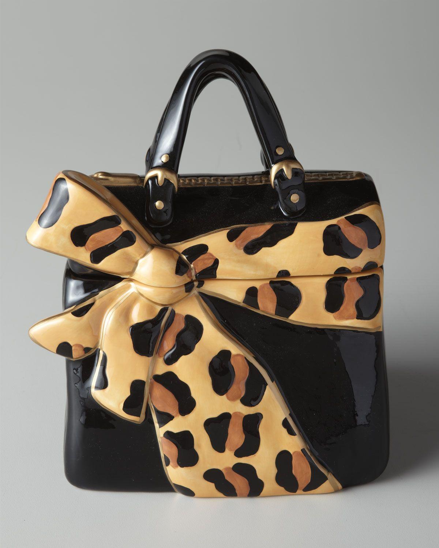 Leopard Bow Purse Cookie Jar Wild Side Animal Print