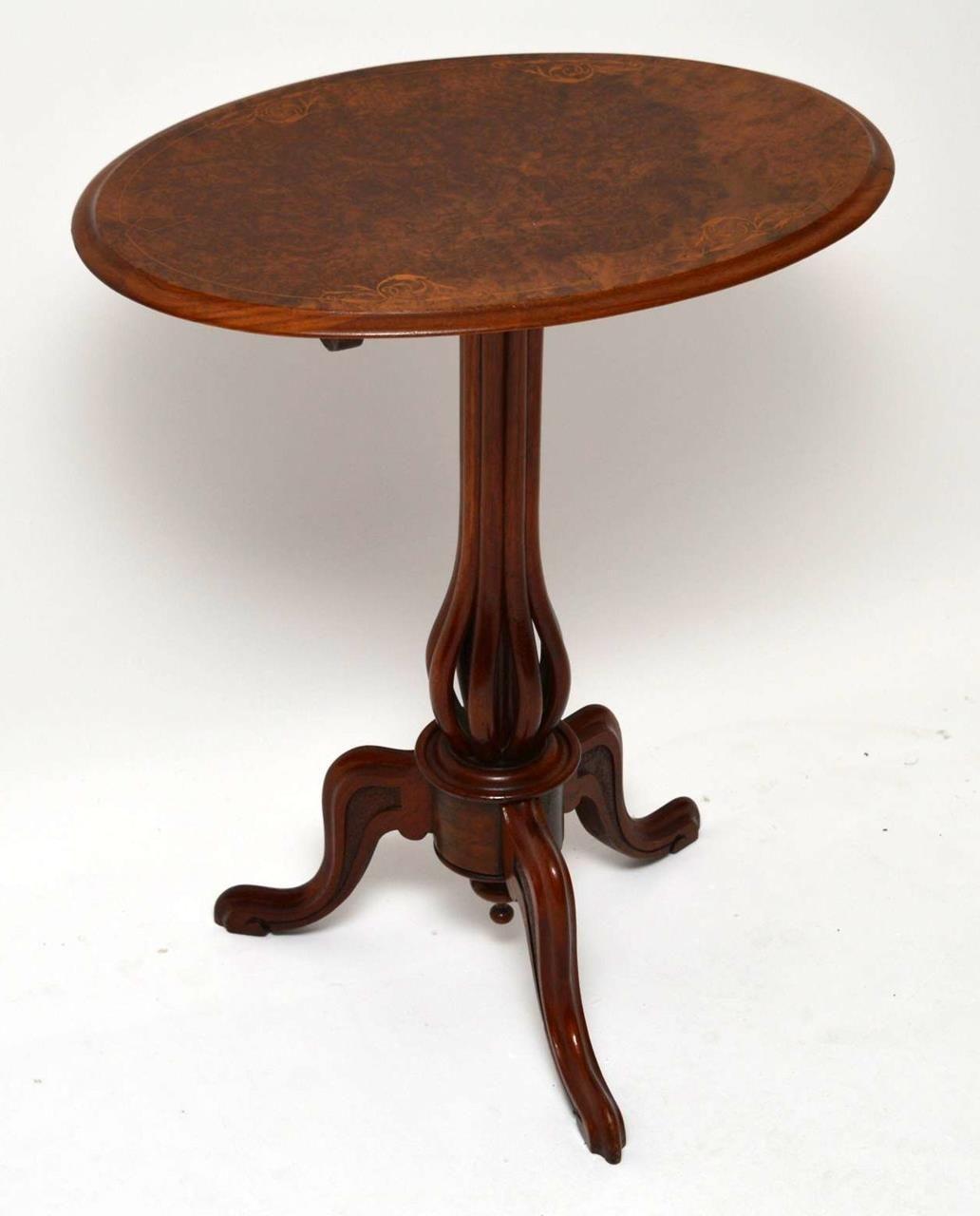 Antique Victorian Burr Walnut Tilt Top Table Small Antique Victorian Oval Tilt Top Table With A F Danish Furniture Mid Century Modern Furniture Retro Furniture
