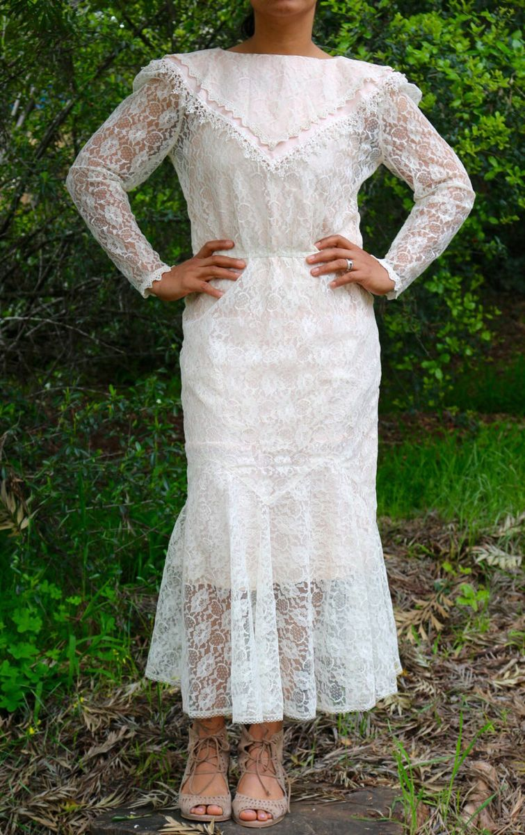 70 S 80 S Pink Off White Lace Dress By Scott Etsy Off White Lace Dress Lace White Dress Lace Top Dress [ 1200 x 755 Pixel ]