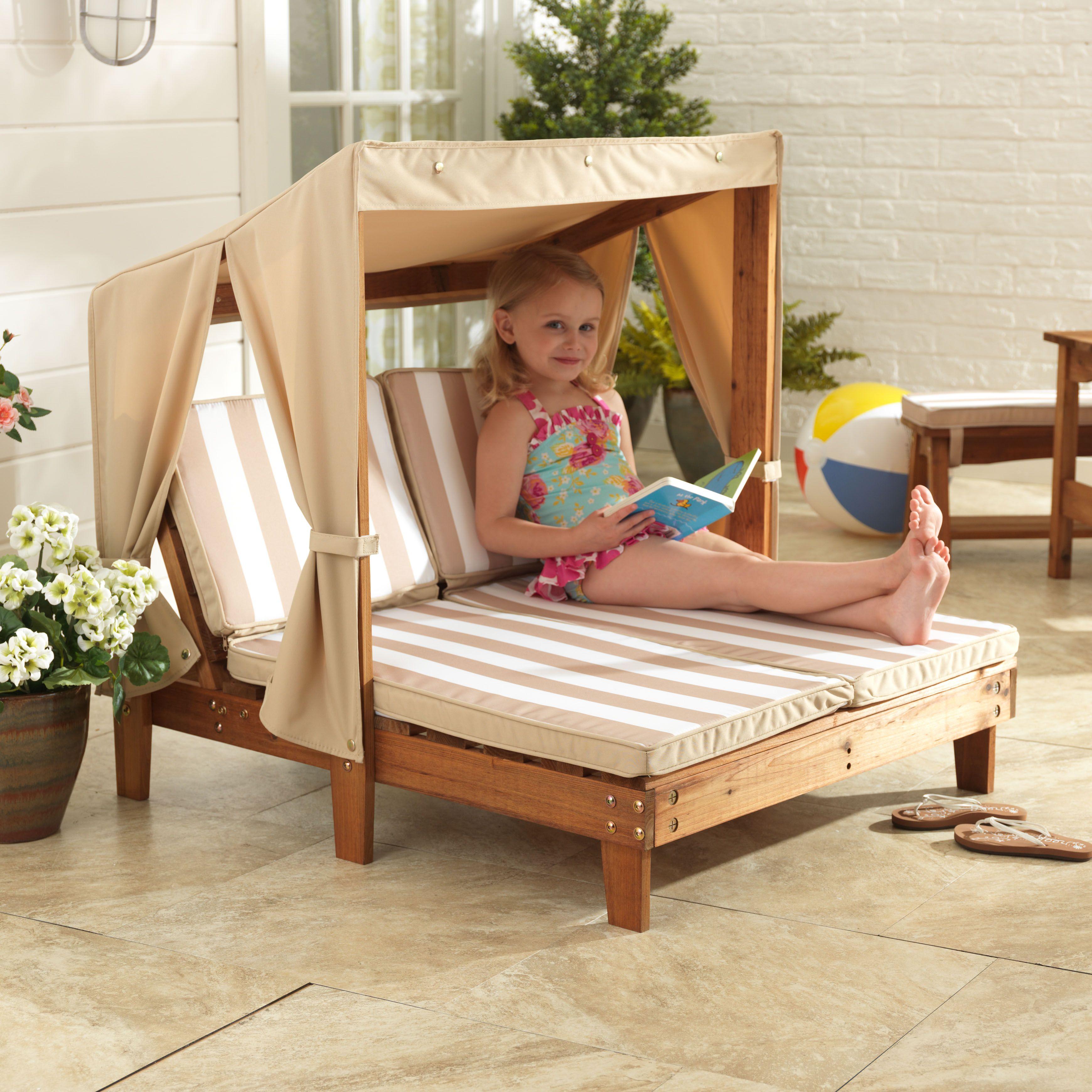 Kidkraft double chaise in oatmeal white stripes kids