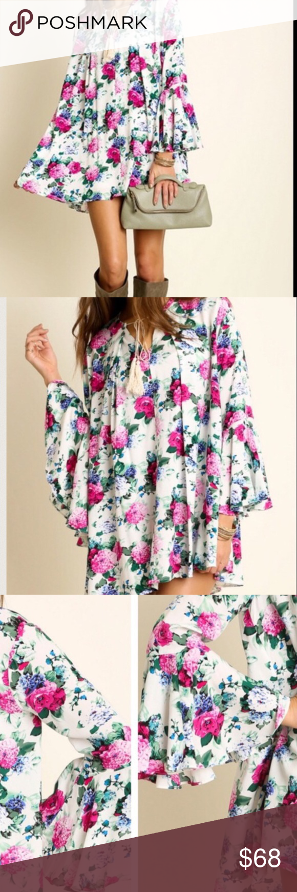 """Floral Rope Swing Dress NWT Sizing: Size S: Bust 35-36"""" Waist 27-28"""" Hips 36-37"""" Size M: Bust 37-38"""" Waist 29-30"""" Hips 38-39"""" Size L: Bust 39-40"""" Waist 31-32"""" Hips 40-41"""" Fabulous quality swing dress! Love love LOVE this flirty and feminine style!  Fuchsia floral print with front rope tie neck closure. Bell sleeves. Oversized fit. Color is CREAM MIX.  Semi Pleated Maxi Tunic Dress.  Pastel Lace Visit us at our Facebook Shop! https://www.facebook.com/BohoLocoFashionBoutique/ Fashion Boho Loco…"""