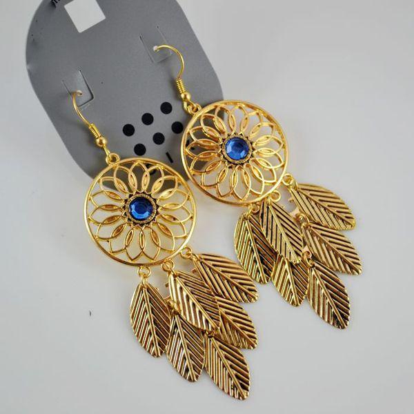 Gold Leaves Dangle Design Earrings @ MayKool.com