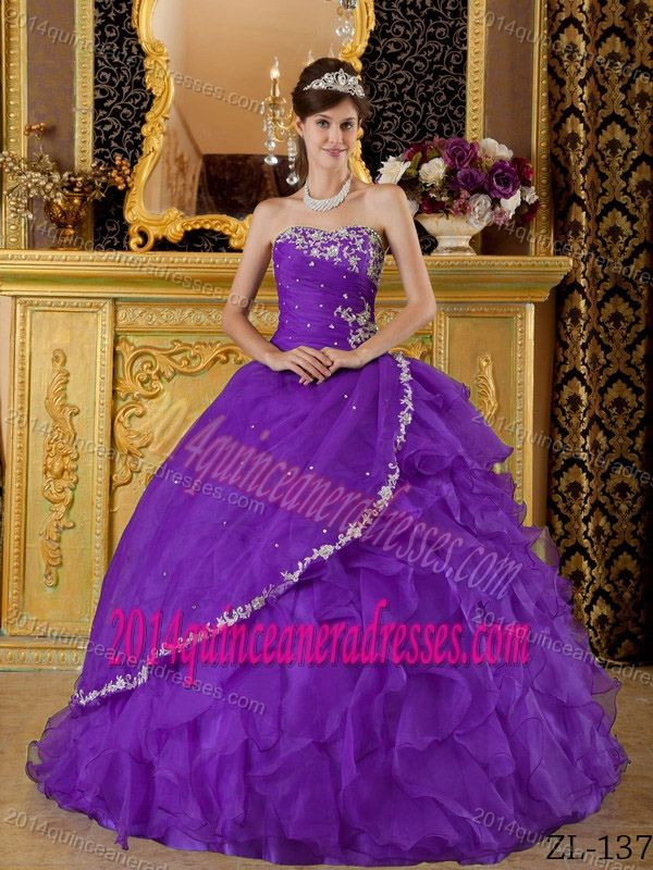 02929284cd Eggplant Purple Strapless Riffled Organza Quinceanera Gowns with Appliques