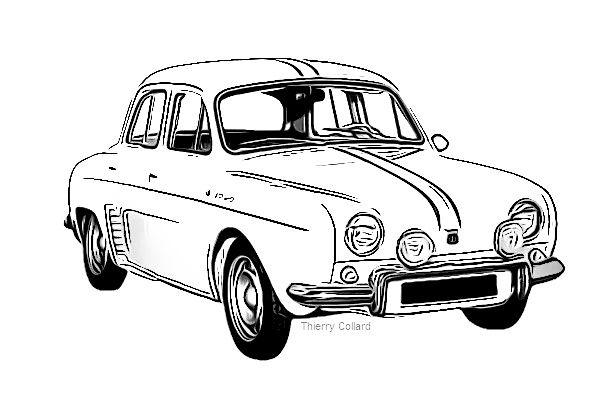 Thierry collard touche tout renault dauphine voiture pinterest renault voiture et dessin - Dessin voiture mariage ...