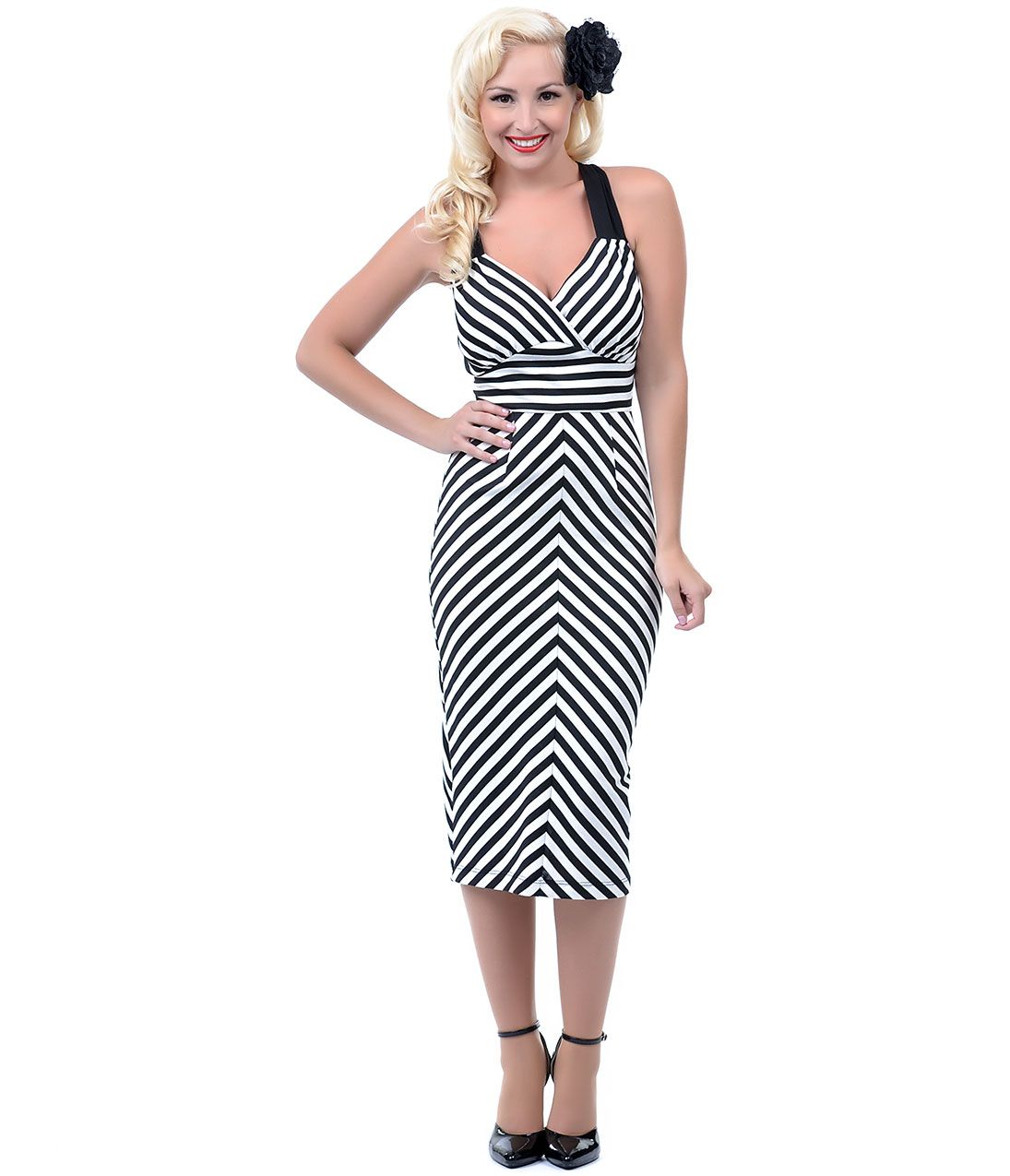 Unique vintage wiggle dress black white stripes and vintage prom