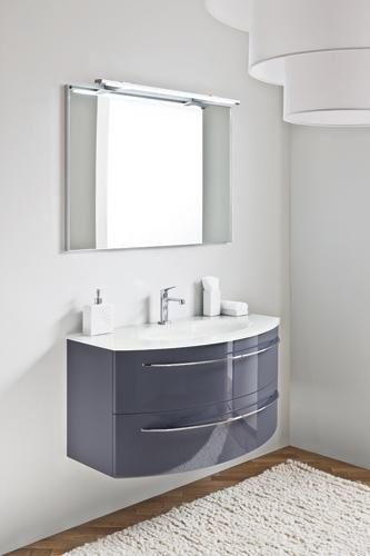 Tahiti   Lacquered Vanity Unit Viola Lucido , Integrated Bianco Polare  Glass Top With Suspended Mirror
