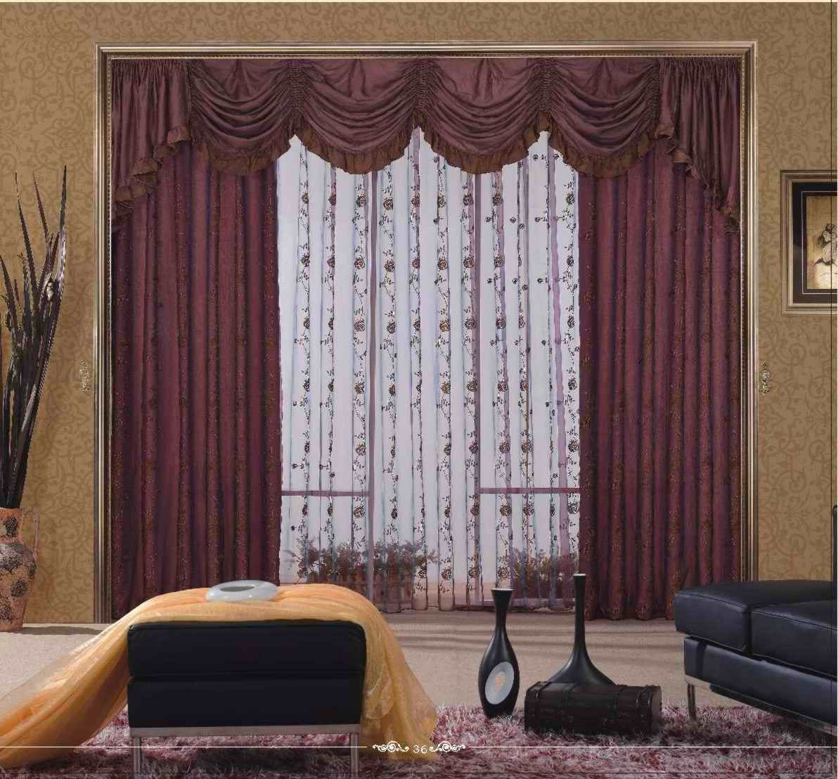 Vintage Living Room Curtains Designing Ideas With Triple Layers Such As  Ruffles Thick Maroon Curtain And White Decorative Curta. Part 54