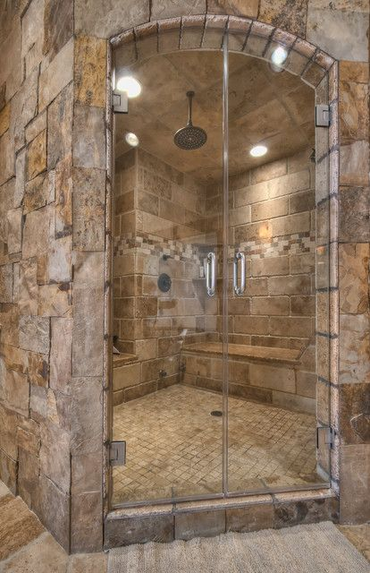 What a PERFECT shower! Love the natural stone colors
