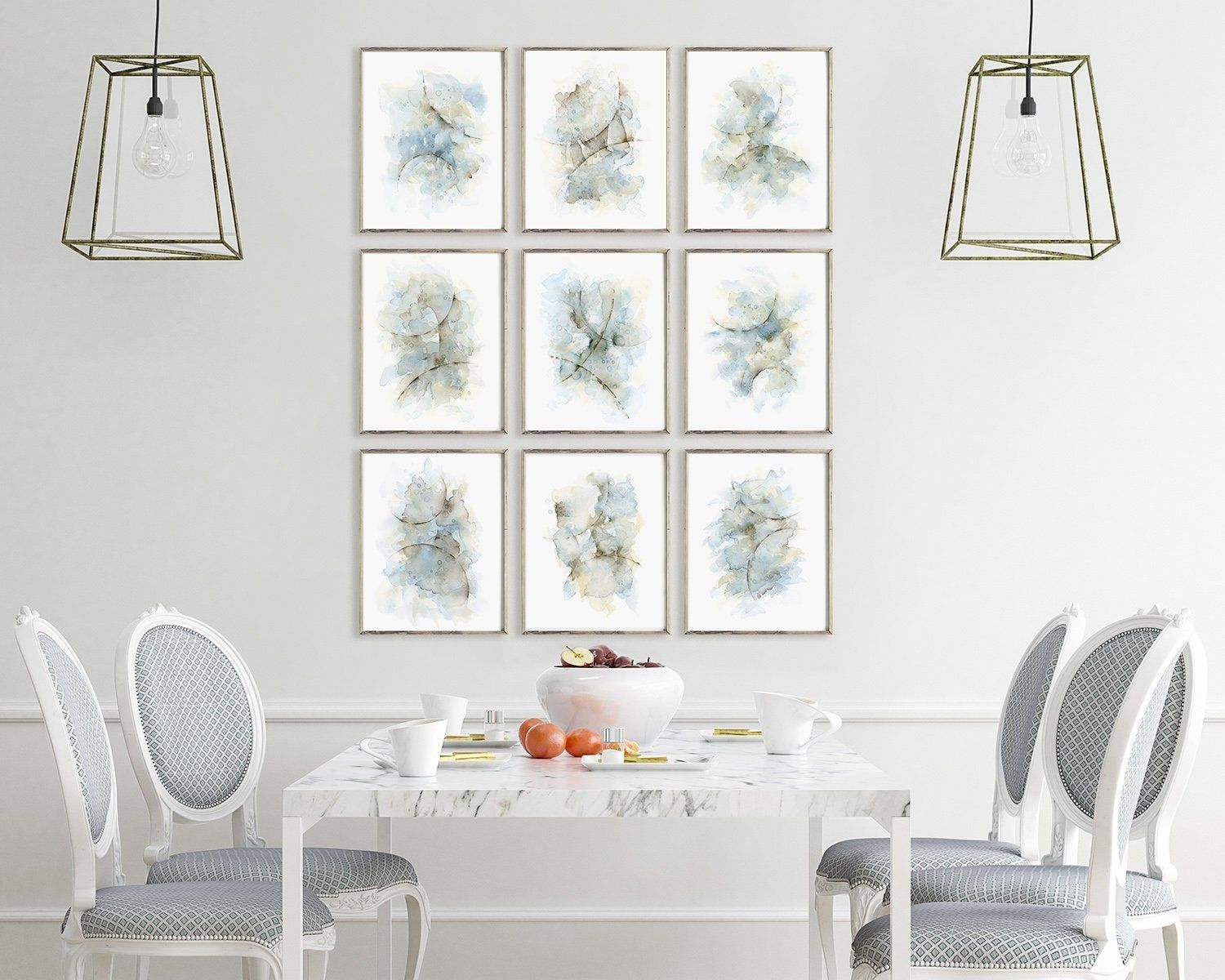 Abstract Painting Gallery Wall Set Of 9 Prints Dining Room Etsy
