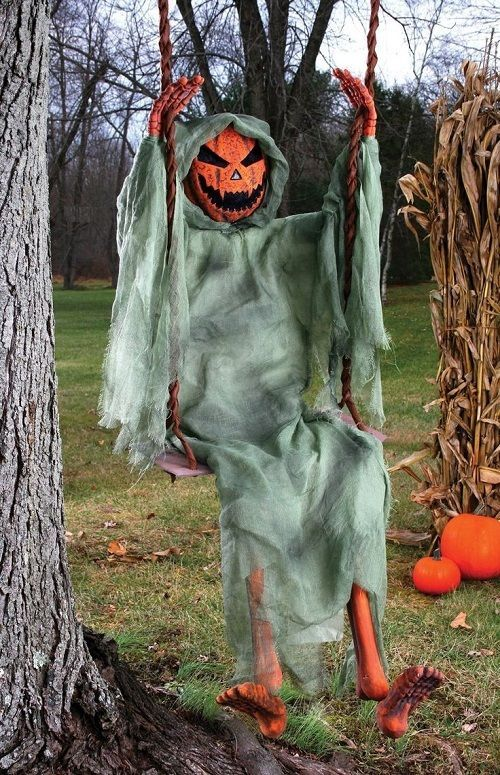 NEW PUMPKIN HEAD MAN ON SWING HALLOWEEN DECORATION OUTDOOR INDOOR - how to make halloween decorations for yard