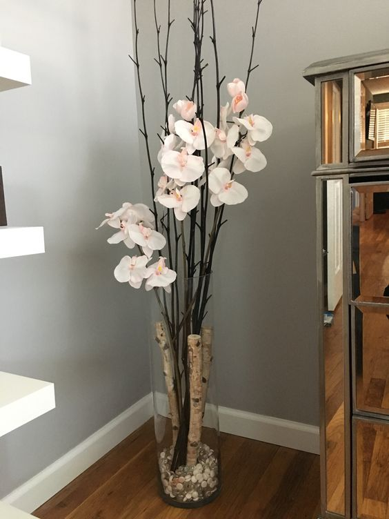 Glass vase with birch branches and orchids for the home for Floor vase filler ideas