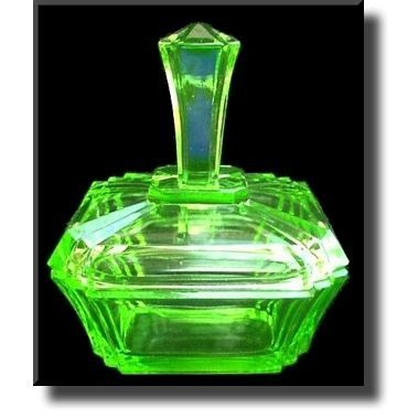 Art Deco Vaseline Glass / Uranium Glass Powder Pot - Czech - c.1930's (Original Full Size Image) tony hayler photo