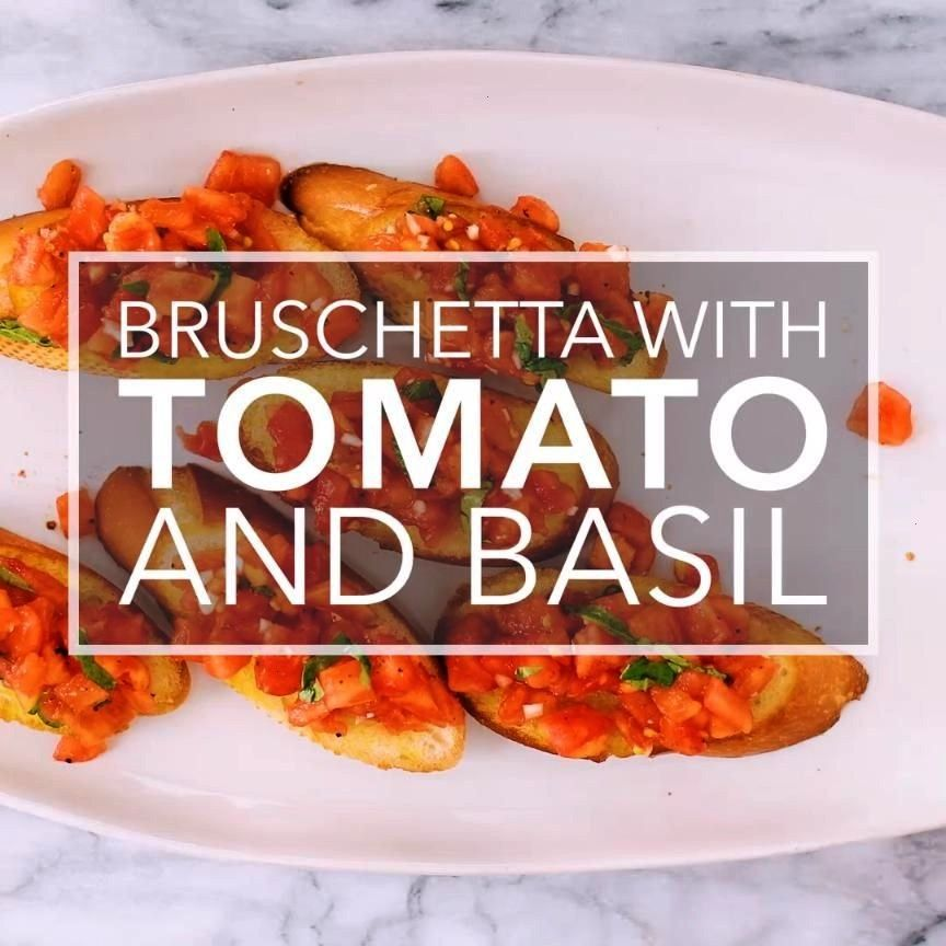 with tomato and basil! Chopped fresh tomatoes with garlic, basil, olive oil, and vinegar, served on