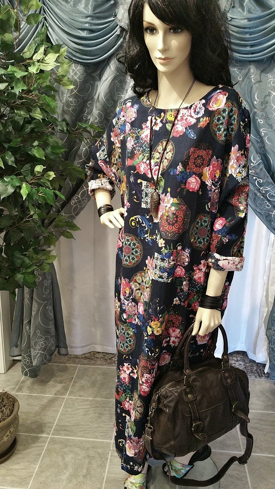 Vintage style cotton floral long sleeve maxi dress cotton and