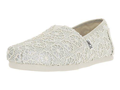45cf77d5e7ec0 Toms Womens 10009299 Crochet Glitter Alpargata Flat Silver 7 M US ...