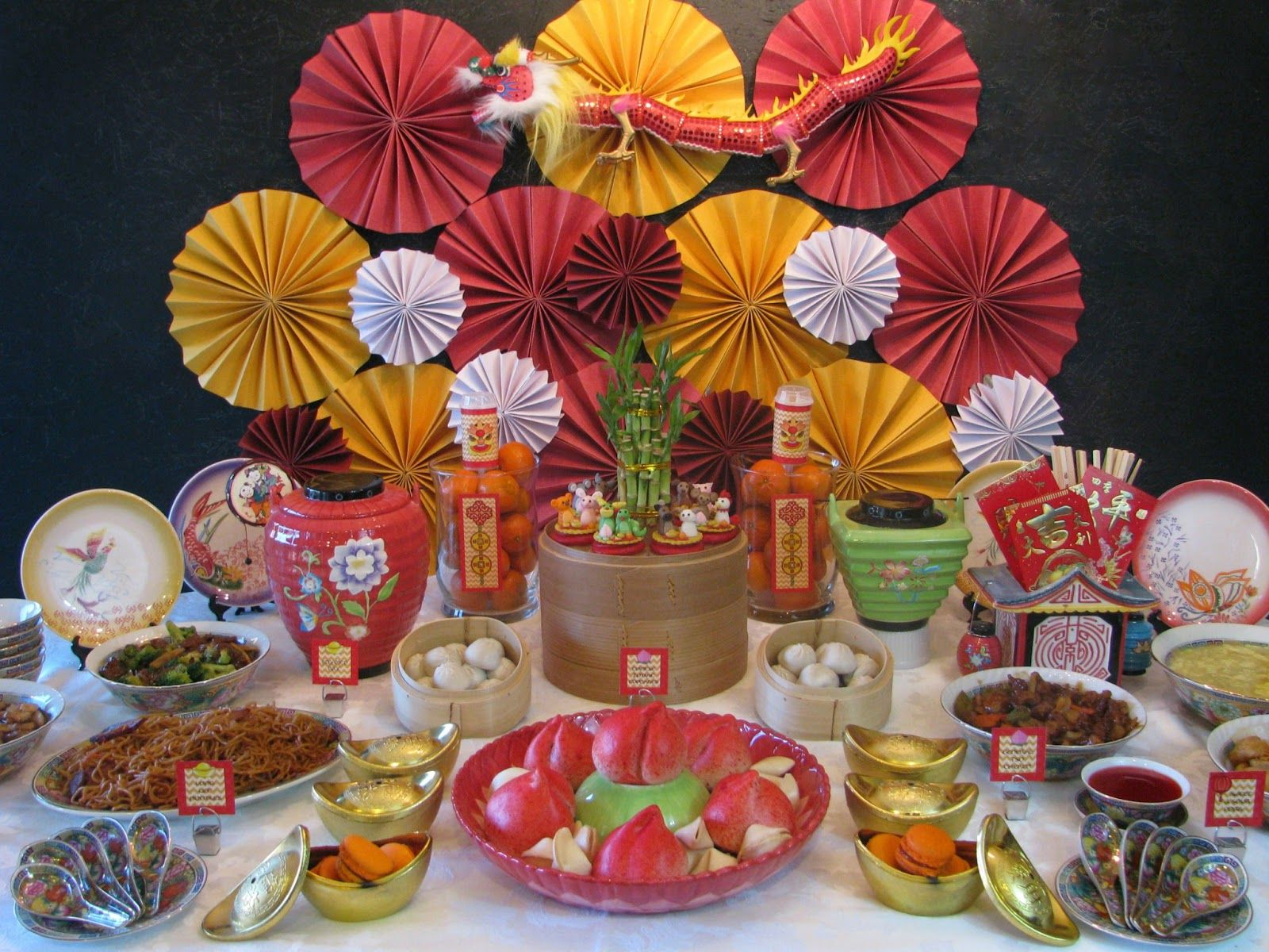 Chinese new year treats table set up lunar harvest yum for 15 years party decoration