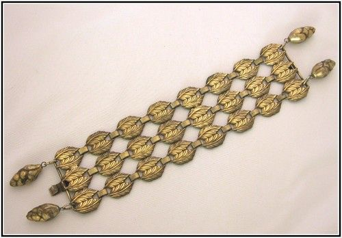 Joseff of Hollywood Russian Gold Leaf & Pine Cone Bracelet