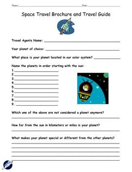 "Have fun when learning about space/planets and incorporate this worksheet/activity called ""Space Travel Brochure & Travel Guide"". Students get to imagine they are a travel agent while they are creating their own travel brochure about their planet of choice!"