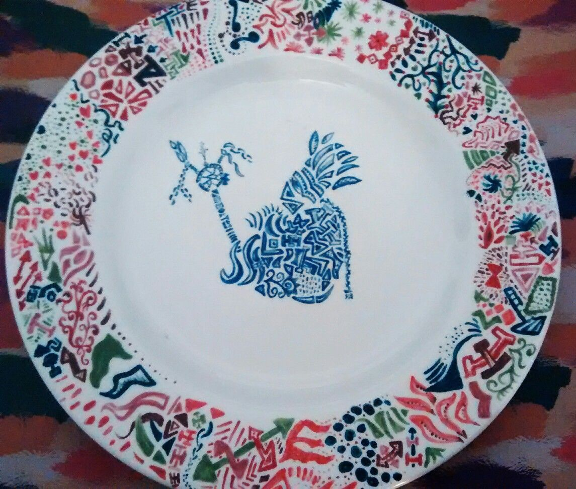 Dinner plate. Doodle designed Native American. Funky. & Dinner plate. Doodle designed Native American. Funky. | painted ...