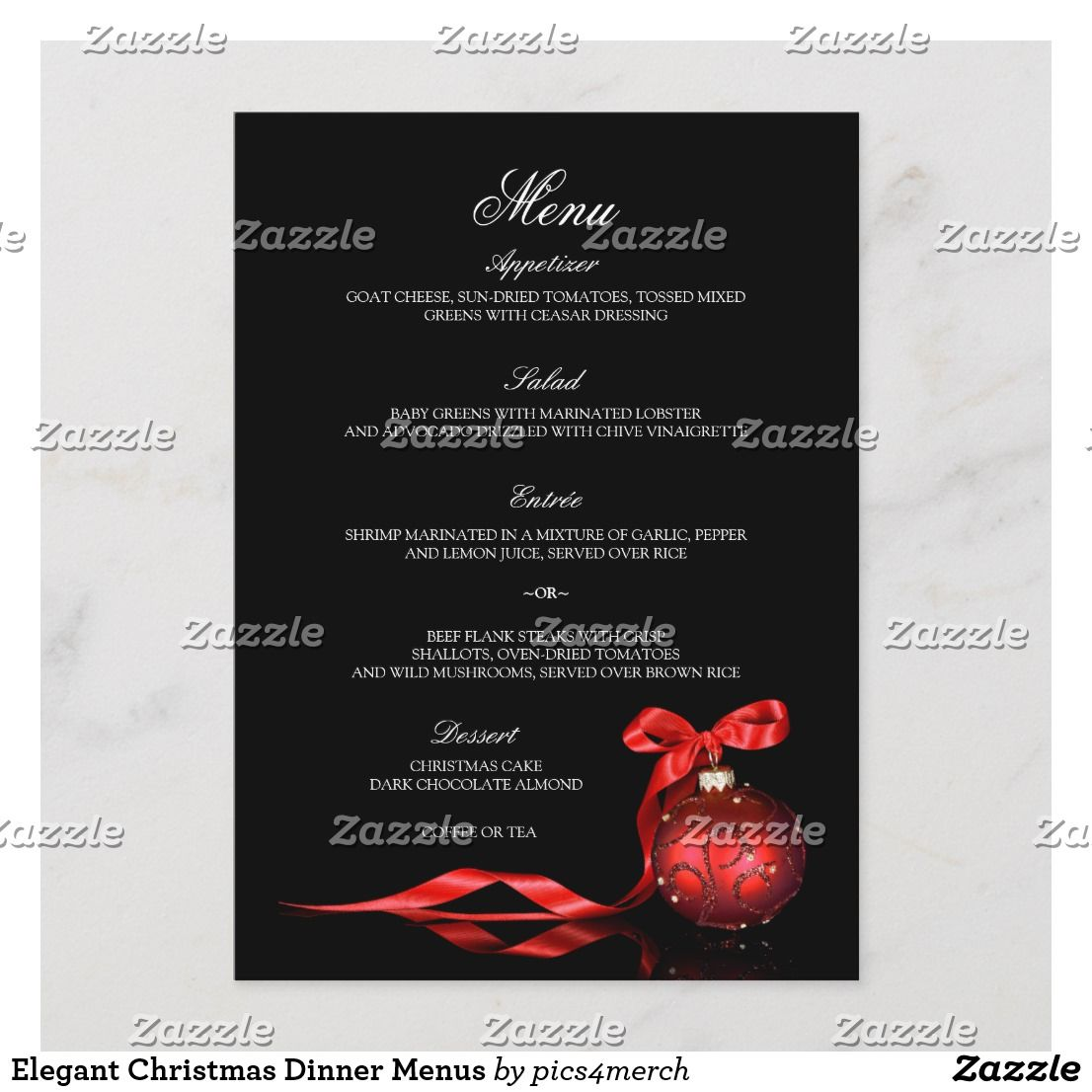 Elegant Corporate Business Christmas Dinner Menus An Menu Card Template Featuring A Red Ornament With Ribbon Against Black