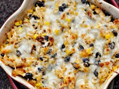 Healthy cheesy chicken and rice bake with black beans and corn.
