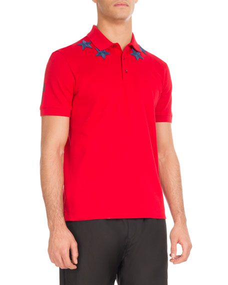 fd543b50 GIVENCHY Cuban-Fit Star-Patch Polo Shirt, Red/Blue. #givenchy #cloth ...