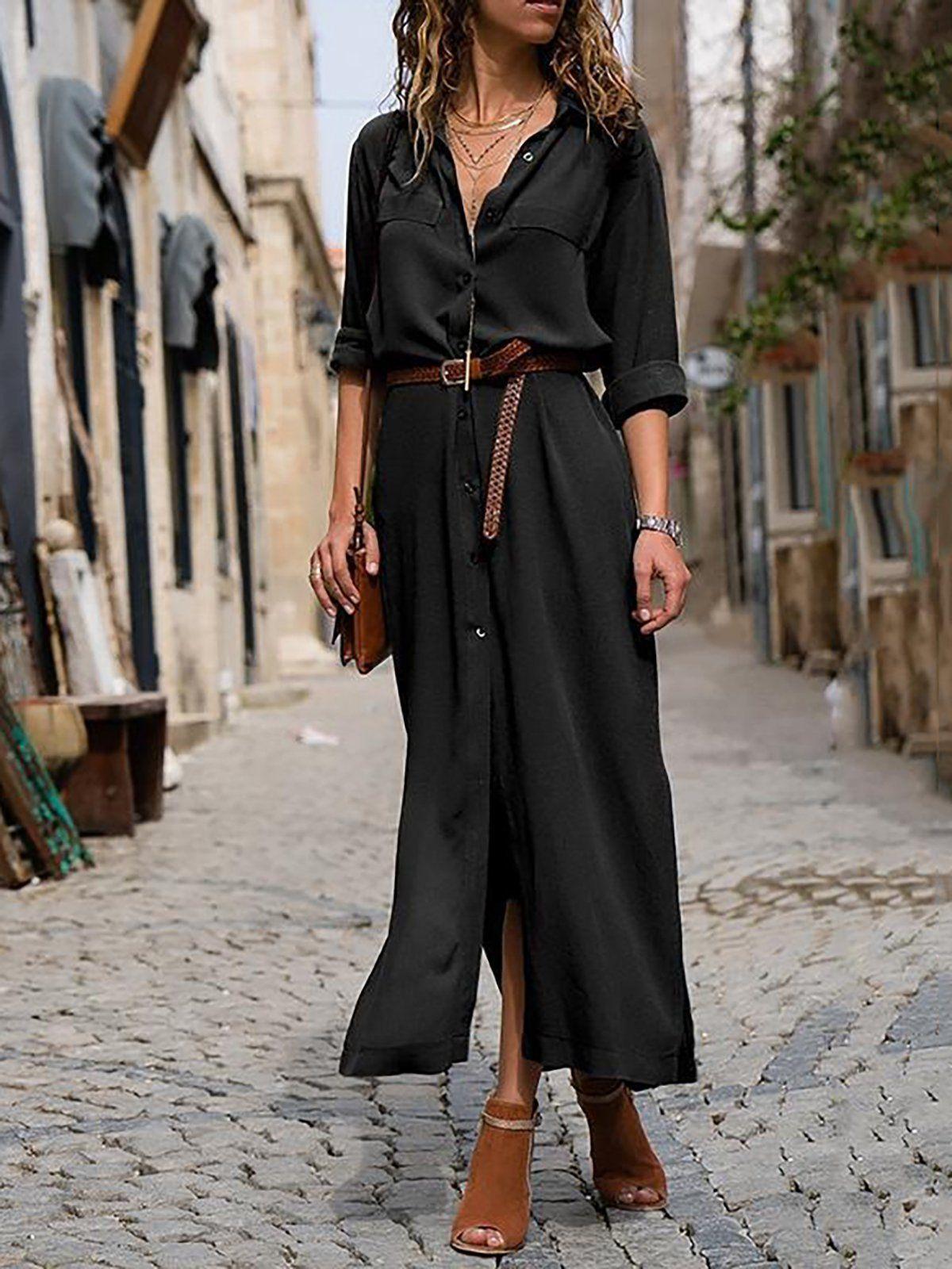 Woman Elegant Long Dress Casual 3 4 Sleeve Shawl Collar Casual Dress Black 3xl In 2021 Maxi Dress With Sleeves Long Sleeve Maxi Dress Fashion Clothes Women [ 1600 x 1200 Pixel ]