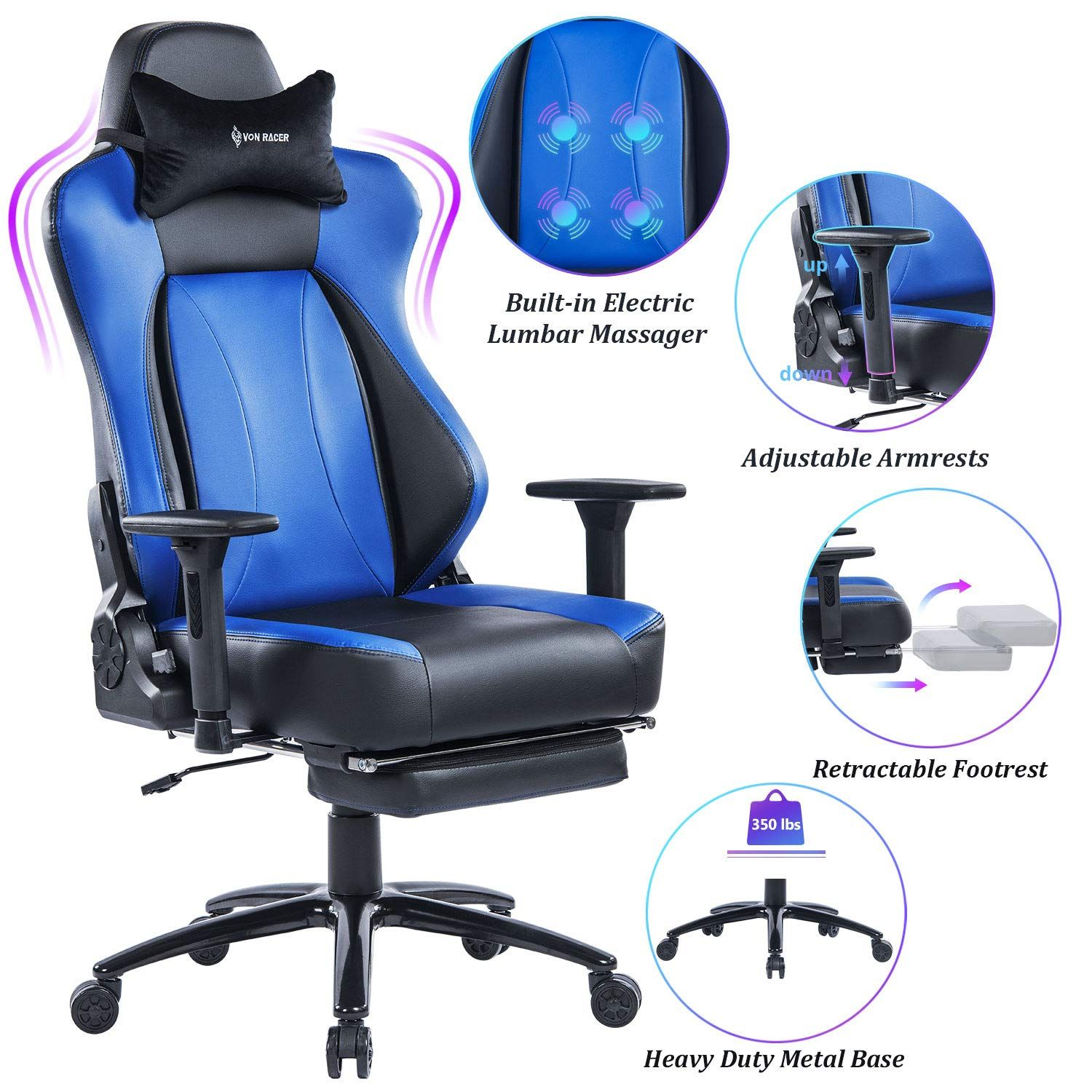 VON RACER Big & Tall 350lbs Massage Gaming Chair with