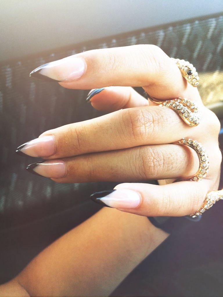 Black French Tips; Stiletto Nails   Nails   Pinterest   Nail nail ...