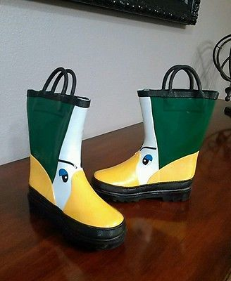 Super Cute Oregon Ducks Rubber Rain Boot Wellies Yellow Amp Green Youth 10 With Images Rubber Rain Boots Boots Wellies