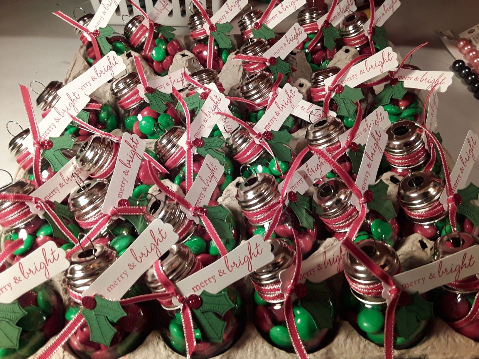 plastic lightbulbs from michaels turned into christmas party favors