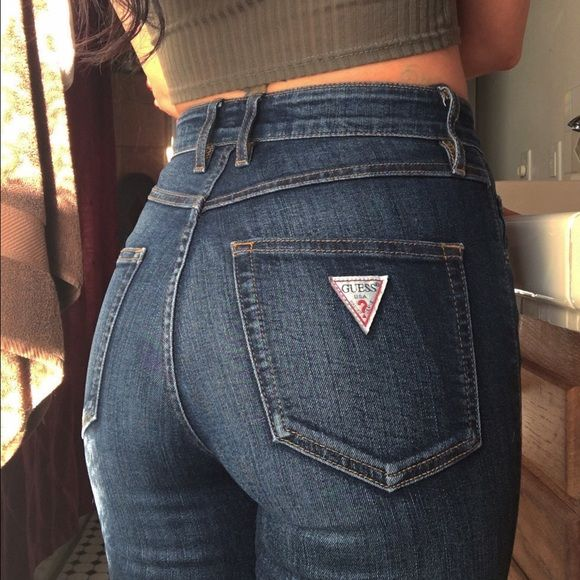 best loved 6f9be feab2 High Waisted GUESS Jeans Perfect condition. Zipper detail on ...