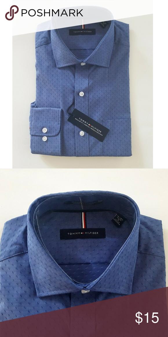 Tommy Hilfiger Men's Regular Fit Wrinkle Stretch Resistant Dress Shirt Blue