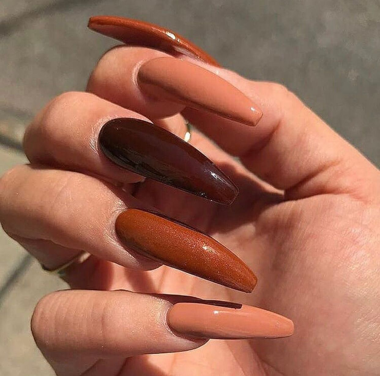 Different Shades Of Brown Nails Fall Acrylic Nails Gorgeous Nails Cute Acrylic Nails