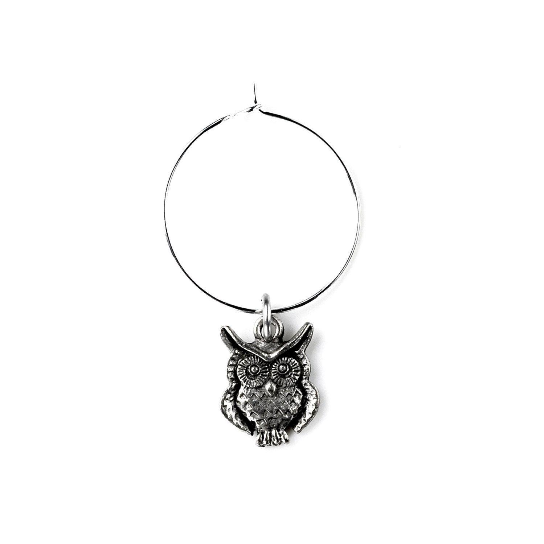 Owl Wine Charm - Wedding Favor - Glass Charms - Wedding Decorations ...