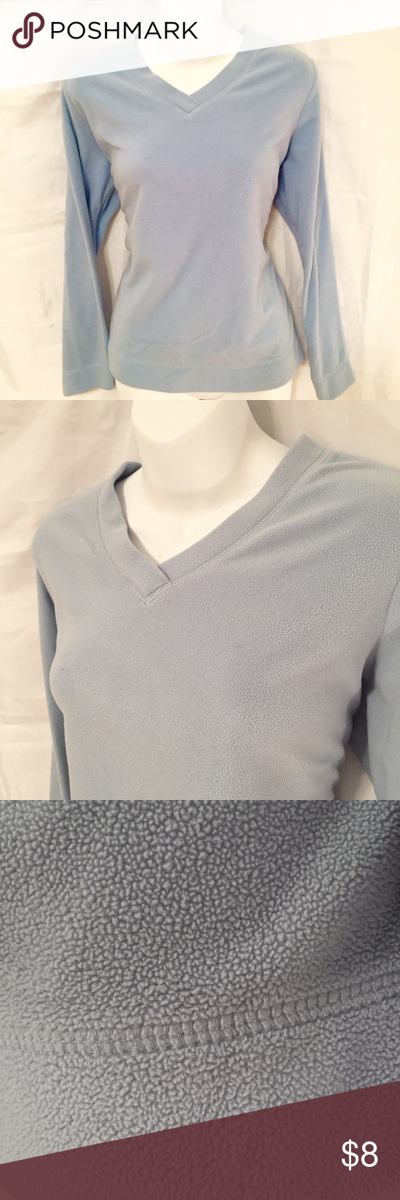 Baby blue long sleeved fleece Baby blue long sleeved v-neck fleece. Perfect for the upcoming cooler weather! Made for Life Tops Sweatshirts & Hoodies