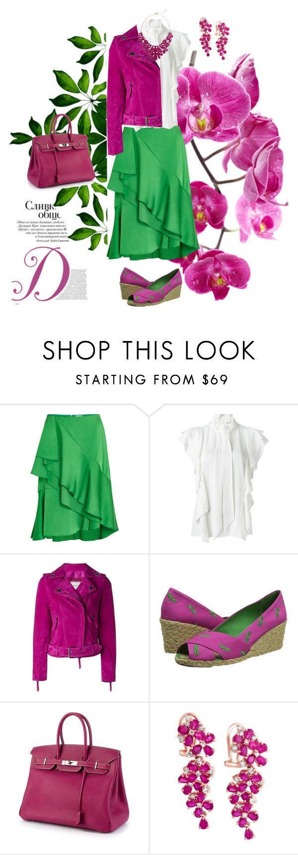 """Untitled #203"" by peggysoans ❤ liked on Polyvore featuring Lanvin, Lauren Ralph Lauren, Hermès, Effy Jewelry and Eye Candy"