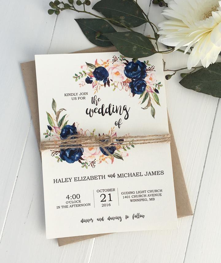 Rustic Navy Floral Invitation suite, Rsvp and Invitation ideas - fresh invitation dalam bahasa inggris