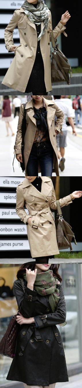 Classic Double Breasted Trench Coat for Women.