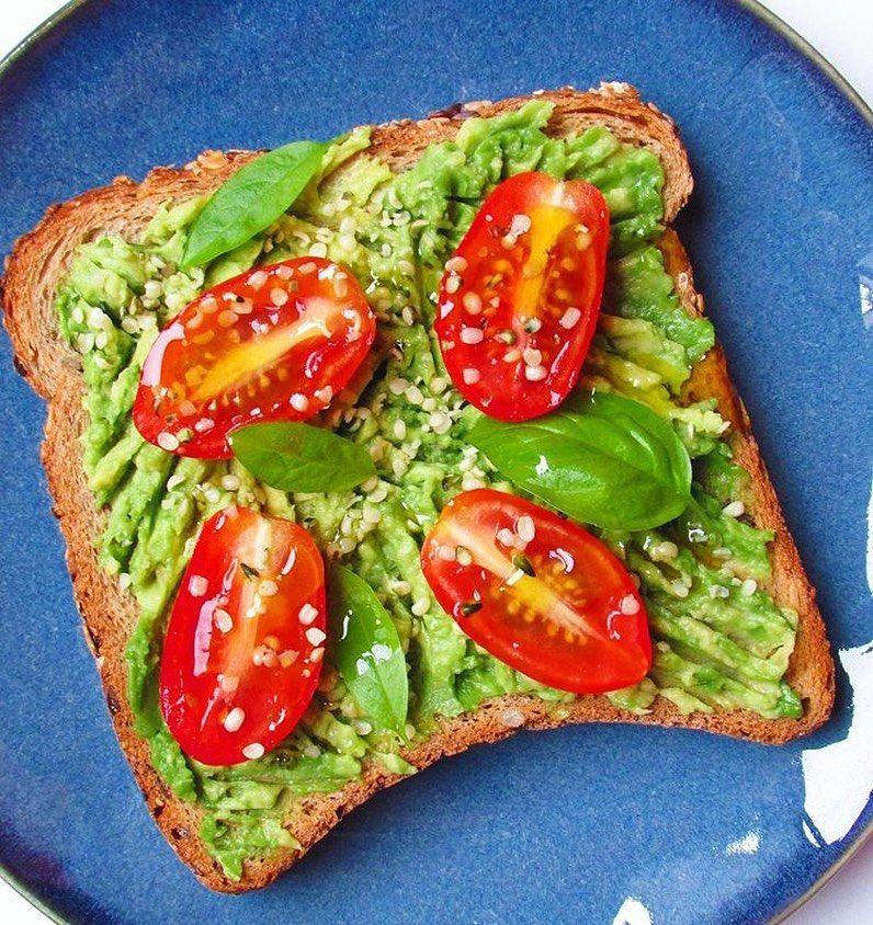 Tostada de aguacate con tomates cherry, semillas de cáñamo y albahaca fresca💚💚 de mis desayunos favo...