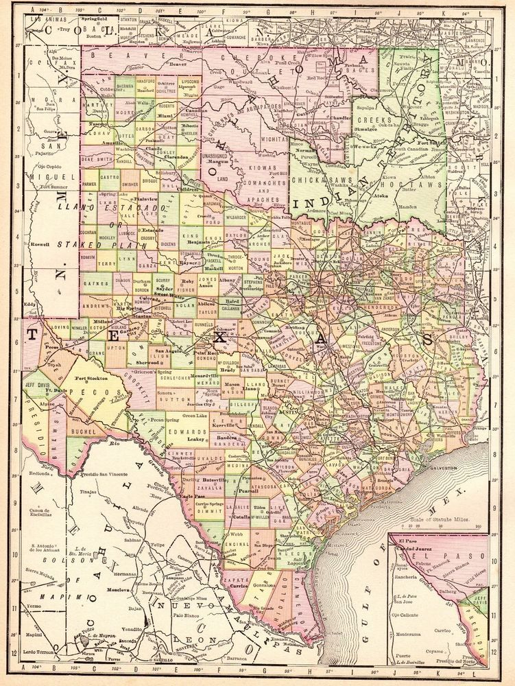 1914 Antique TEXAS Map Vintage Map of Texas State Map Gallery Wall